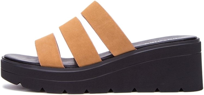 DHG Sommer Süße Sandalen, Modische Damen Hausschuhe, Casual Flache Sandalen, Low-Heel Einfarbig Zehensandalen, High Heels,Braun,34  | Schönes Aussehen