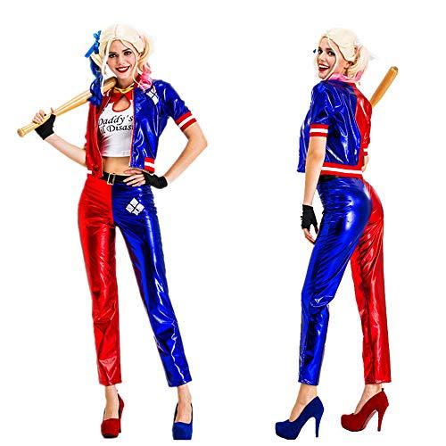 LJ123 Traje de Payaso Azul y Rojo de Harley Quinn para Mujer, Cosplay, Mejor Regalo de Rendimiento