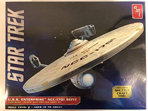 Round2 AMT1080/06 1/537 Star Trek USS Enterprise Refit Plastikmodellbausatz, Modelleisenbahnzubehör, Hobby, Modellbau, Mehrfarbig