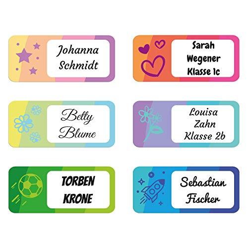foliado® Namensaufkleber Kinder bis zu 3-zeilig Etikett 34x15mm Sticker Namensetikett Schule Kita personalisierte Klebeetiketten zur Kennzeichnung wasserfest APD-038 (60)