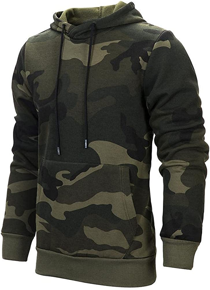 Aayomet Hoodies Sweatshirts for Men Fashion Camouflage Tops Long Sleeve Workout Hooded Pullover Shirts Blouses