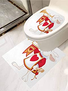AuraiseHome Alice in Wonderland Toilet Seat Tattoo Cover Rabbit Playing Royal Trumpet with Heart Design Animal Card Kids Vinyl Bathroom Decor 2-Piece Set White Red Yellow