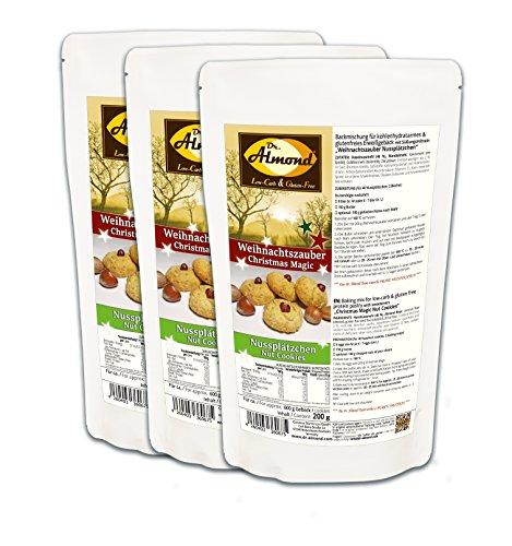 Dr. Almond Plätzchen Backmischung Weihnachtszauber NUSSPLÄTZCHEN low-carb glutenfrei sojafrei keto (3er Pack) Zuckerfreie Kekse