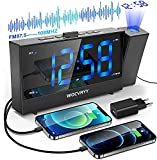 Despertador Proyector Techo, Radio Despertador con Radio FM, Función Snooze Alarma Dual, Giratorio 180°, 0-100% Niveles de Brillos, 12/24 Horas, Doble Puerto de Carga USB