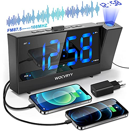 SvegliaDigitaledaComodinoconProiettore, WOCVRYY Radiosveglia con Proiettore, Proiezione Ruotabile di 180 °, Doppia Sveglia e Snooze, 12 24h, FM Radio, 2 Porte di Ricarica USB