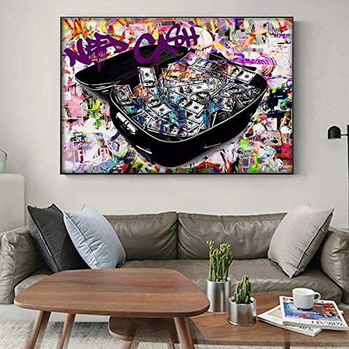 WKHRD Colorful Suitcase Money Canvas Painting Posters and Prints Quadros Wall Art Pictures for Living Room Wall Decoration - 60X80cm (No Frame)
