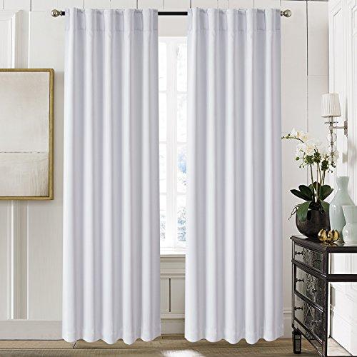 "Aquazolax Thermal Insulated Back Tab/Rod Pocket Blackout Drape Curtains for Living Room, 2 Panles Set, 52"" W x 84"" L, Greyish White"