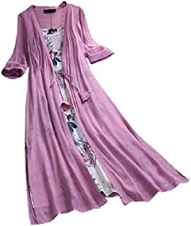 Mogogo Womens Floral Printed Bohemian 2-Piece 3/4 Sleeve Long Dress