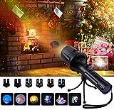 SGODDE Proiettore Lampada LED Natalizia, Lampada da Proiezione Torcia per Bambini con 6 Diapositive, LED Proiettore Luci Natalizie Luci per Esterni con Treppiede, Portatile Handheld Torcia