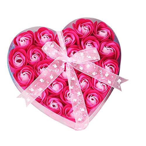 Xshuai Savon Rose Fleur - Lot de 24 Cœur parfumée Pétale de bain Corps Pétale fleur rose Savon Décoration de mariage Meilleur Cadeau pour la Saint Val