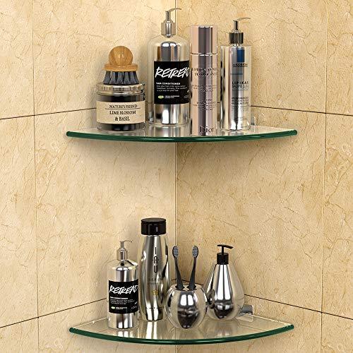 GeekDigg 2 Pack Glass Shelf, Corner Shower Caddy Shelf Basket Shampoo Holder Organizer, No Drilling Adhesive Wall Mounted Bathroom Shelf with Aluminum Brackets