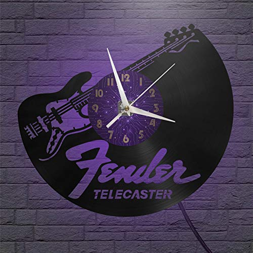 Telecaster - Reloj de Pared con Disco de Vinilo de 12 Pulgadas,...
