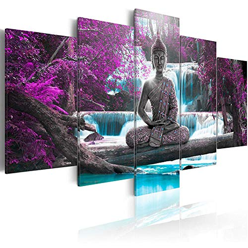 AWLXPHY Decor-Buddha Waterfall Wall Art Canvas Painting Framed 5 Panels for Living Room Decoration Modern Landscape Buddha Water Trees Zen Stretched Artwork Giclee (Purple, 60''x30'')