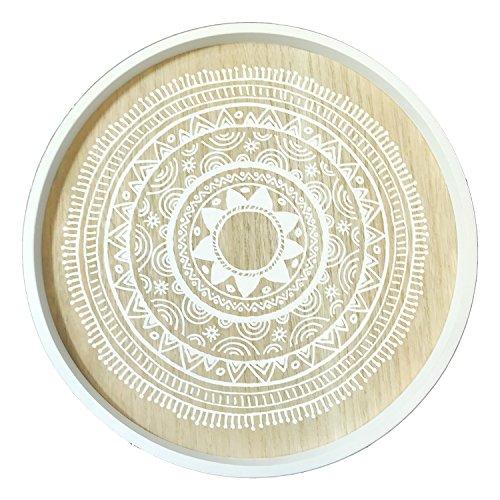 Mojawo Designer Beistelltisch Couchtisch Dekotisch Weiß rund 3-beinig Tisch Holz im Shabby Look Ø 40cm + Höhe 45cm