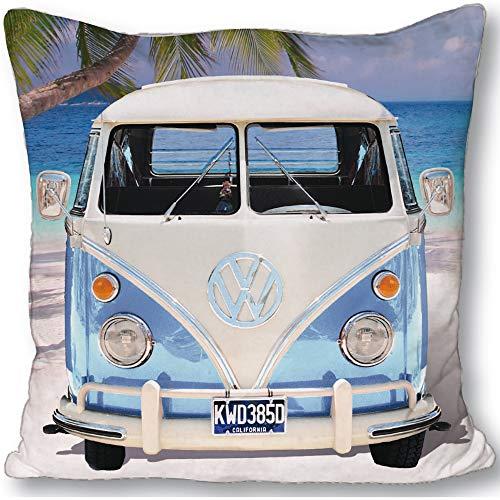 Original Volkswagen Kissen VW Bulli T1 blau 40 x 40 cm Camper-Van VW Bus Retro Autokissen Kopfkissen Dekokissen Reisekissen Schmusekissen Zierkissen Kuschelkissen Polster passend zur Bettwäsche 048