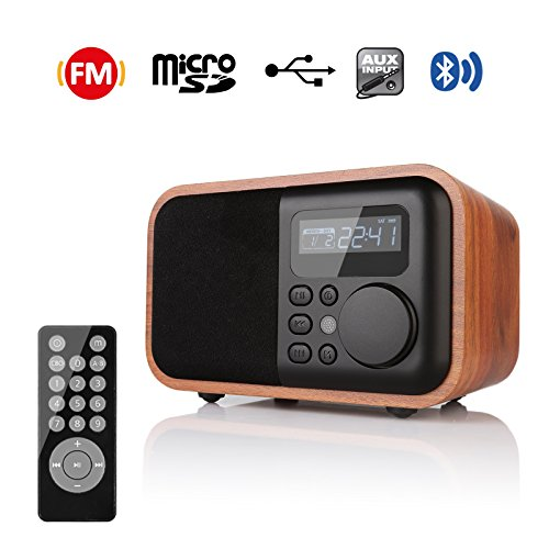 InstaBox i90 Upgraded Wooden Digital Multi-Functional Speaker Work with Bluetooth FM Radio Alarm Clock MP3 Player, Supports Micro SD/TF Card and USB with Remote Control, Brown Wood