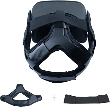 MASiKEN Professional Head Strap Pad for Oculus Quest Headband Replacement Accessories, Comfortable PU Leather Head Cushion & Reduce Head Pressure (Pad+Strap)