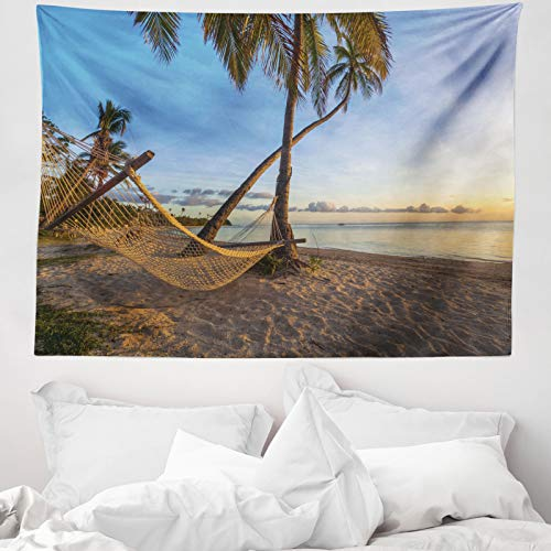 ABAKUHAUS Fiji Wandtapijt, Summer Time Hangmat op een Strand, Stoffen Muurdecoratie voor Woonkamer Slaapkamer Slaapzaa, 150 x 110 cm, Veelkleurig