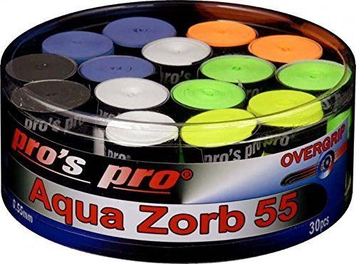 Pro's Pro Aqua Zorb 55 Overgrip Tennis Badminton Squash Racket Grip - Box of 30 by Spro