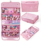 BELLEMID Organizer Storages & Display Case Compatible with LOL Surprise Dolls, Easy Carrying 4 Clear Window Pocket Case for Girls(Shining Pink)