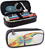 KLKLK Estuche Rainbow Pencil case Colorful Tree with Vivid Giant Leaves and Rainbow Backdrop Natural...