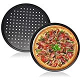 2 Pieces Non-Stick Pizza Pan,Round Pizza Tray with Holes,12 Inch/30cm Carbon Steel Pizza Pans for Home Baking,Kitchen,Oven,Restaurant,Black