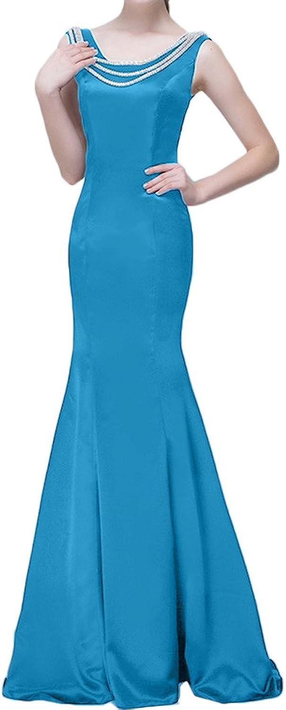 MILANO BRIDE Slim Mermaid ScoopNeck Crystals Satin Evening Dress Prom Dress