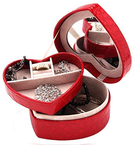 DCCN Contenitore di Gioielli Elegante Caso di Gioielli in Pelle PU Custodia di Gioielli con Specchio (Rosso)