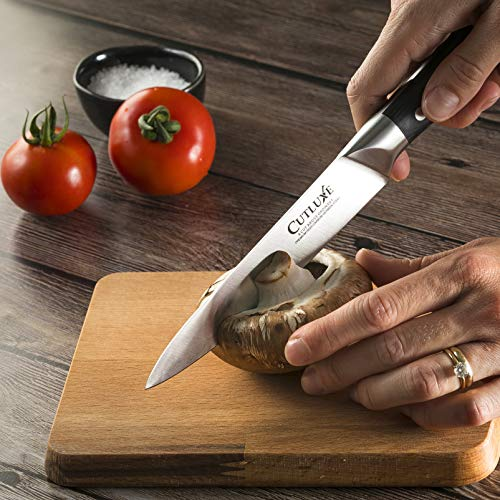 Cutluxe Utility Knife – 5.5 Inch Kitchen Petty Knife Forged of High Carbon German Steel – Ergonomic Handle – Full Tang Razor Sharp Blade Multipurpose Knife
