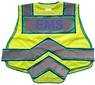 FIRE NINJA EMS VEST-Class 2 Reflective - High Visibility Public Safety Vest - Bright Neon Reflective Colors - Double Breakaway Zipper - For EMS and Public Saftey Departments