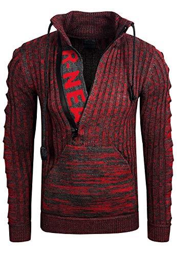 Rusty Neal Zipper Stehkragen Pullover Herren Strick Grobstrick Strickpullover Langarm 328, Farbe:Rot, Größe:S