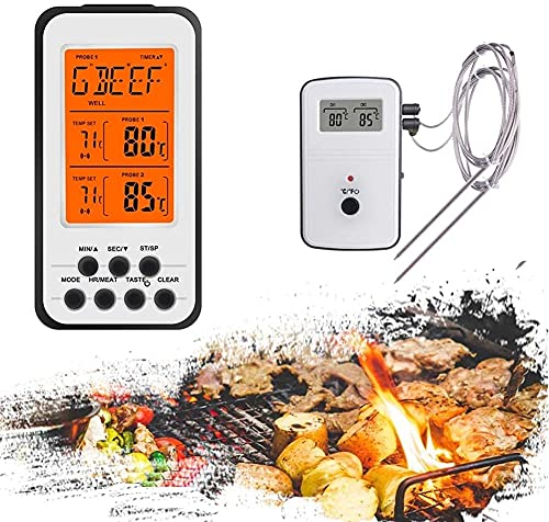 ROM Termómetro Digital Remoto para Barbacoa de Carne, Horno de Cocina, Comida, Barbacoa, Parrilla, termómetro para Asar, medidor de Temperatura de Agua y Leche, sonda