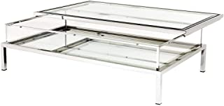 Silver Sliding TOP Rectangular Coffee Table | EICHHOLTZ Harvey | Modern Contemporary Mirrored Glass Center Table with Storage for Living Room