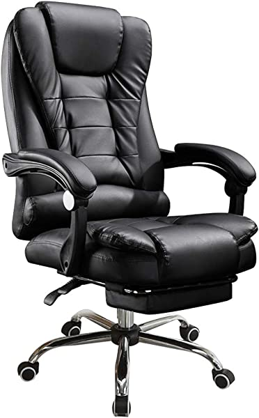 Inverlee Home Reclining Office Chair Adjustable Height Leather Gaming Chair Desk And Task Chair Black