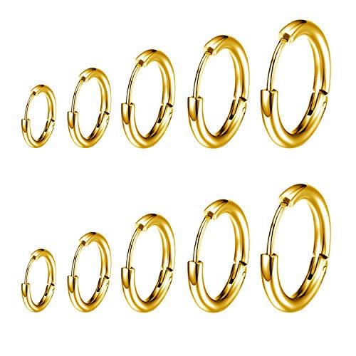 5 Pares de Acero Inoxidable Pendiente Aro Hombre Mujer Unisex Pendiente Plata (8mm/10mm/12mm/14mm/16mm) (Dorado)