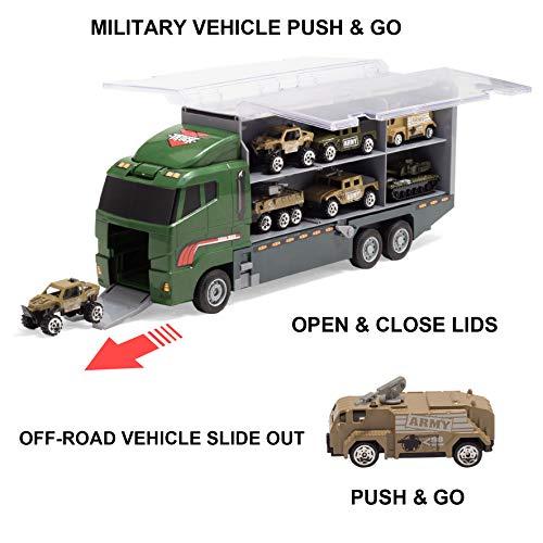 JOYIN 10 in 1 Die-cast Military Truck Army Vehicle Mini Battle Car Toy Set in Carrier Truck