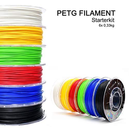 storeHD-Filaments PETG Filament Starterkit Weiß, Rot, Gelb, Grün, Blau & Schwarz (6 x 0,33 kg) 1.75mm, PETG Filament in Premium Qualität für 3D-Drucker – Hergestellt in Europa