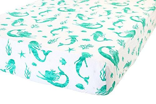ADDISON BELLE Drap-housse pour berceau 100 % coton bio – Literie de qualité supérieure pour bébé – Doux, respirant et durable – Imprimé sirène