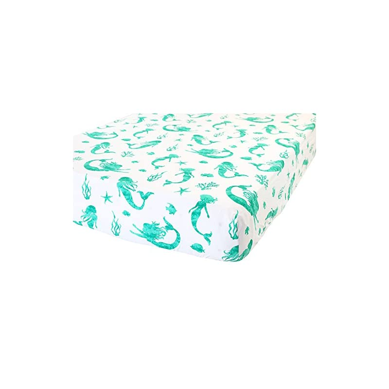 crib bedding and baby bedding addison belle 100% organic cotton fitted crib sheet - premium baby bedding - soft, breathable & durable - mermaid print