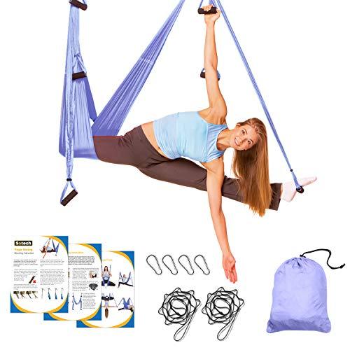 Sotech - Antigravity Yoga Hammock, Yoga Swing Set, Light Purple, Daisy Chain 1.2 Meters, Dimensione: 250 x 150 cm, Dimensioni Piegato: 26 x 24 x 11 cm