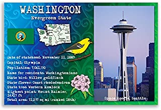 WASHINGTON STATE FACTS postcard set of 20 identical postcards. Post cards with WA facts and state symbols. Made in USA.