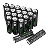EBL AA Rechargeable Batteries for Solar Lights Replacement, 1100mAh High Performance Ni-CD Battery(Pack of 20)