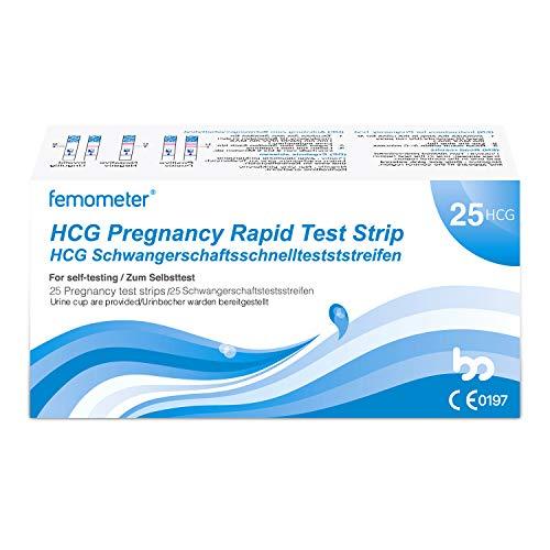 Femometer 25 x Schwangerschaftstest frühtest mit Urinbecher, optimaler Sensitivität, hcg sst, 3,5 mm breit