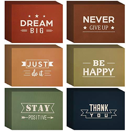 Tarjetas de Felicitación Inspiradoras Tarjeta de Cotización Motivacional con Sobres para Inspirar Estudiantes Amigos Familiares, 6 Estilos