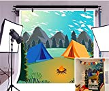 LFEEY 5x5ft Outdoor Camping Backdrops for Photoshoot Kids Camping Themed Party Cartoon Forest Flaming Field Survival Riverside Tents Mountain Camping Decorations Photography Background Video Props