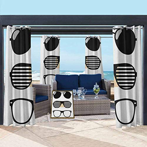 Indie High-end Curtains Outdoor Panel Drape for Pergola, Porch, Deck and Cabana Set of Stylized Old Fashioned Sunglasses Summer Accessories Hipster Vintage Black and White 108W x 84L Inch