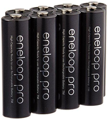Eneloop Bateria recarregável Pro AA de alta capacidade Ni-MH 2550mAh (mínimo 2450mAh) pré-carregada com suporte pacote de 8