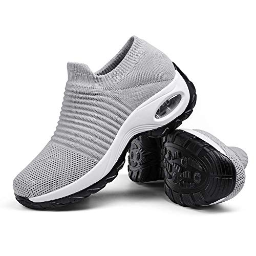Women's Walking Shoes Sock Sneakers - Mesh Slip On Air Cushion Lady Girls Modern Jazz Dance Easy Shoes Platform Loafers Pure Grey,8