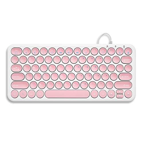Chocolade bekabeld toetsenbord laptop desktop huis kantoor USB mute mini toetsenbord muis, Elegant pink 87 keys