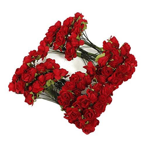 LEILEIMY Künstliche Blumen 144 x Künstliche Papier Rote Rose Blume Hochzeit Handwerk Dekor Pflanze (Color : Red)